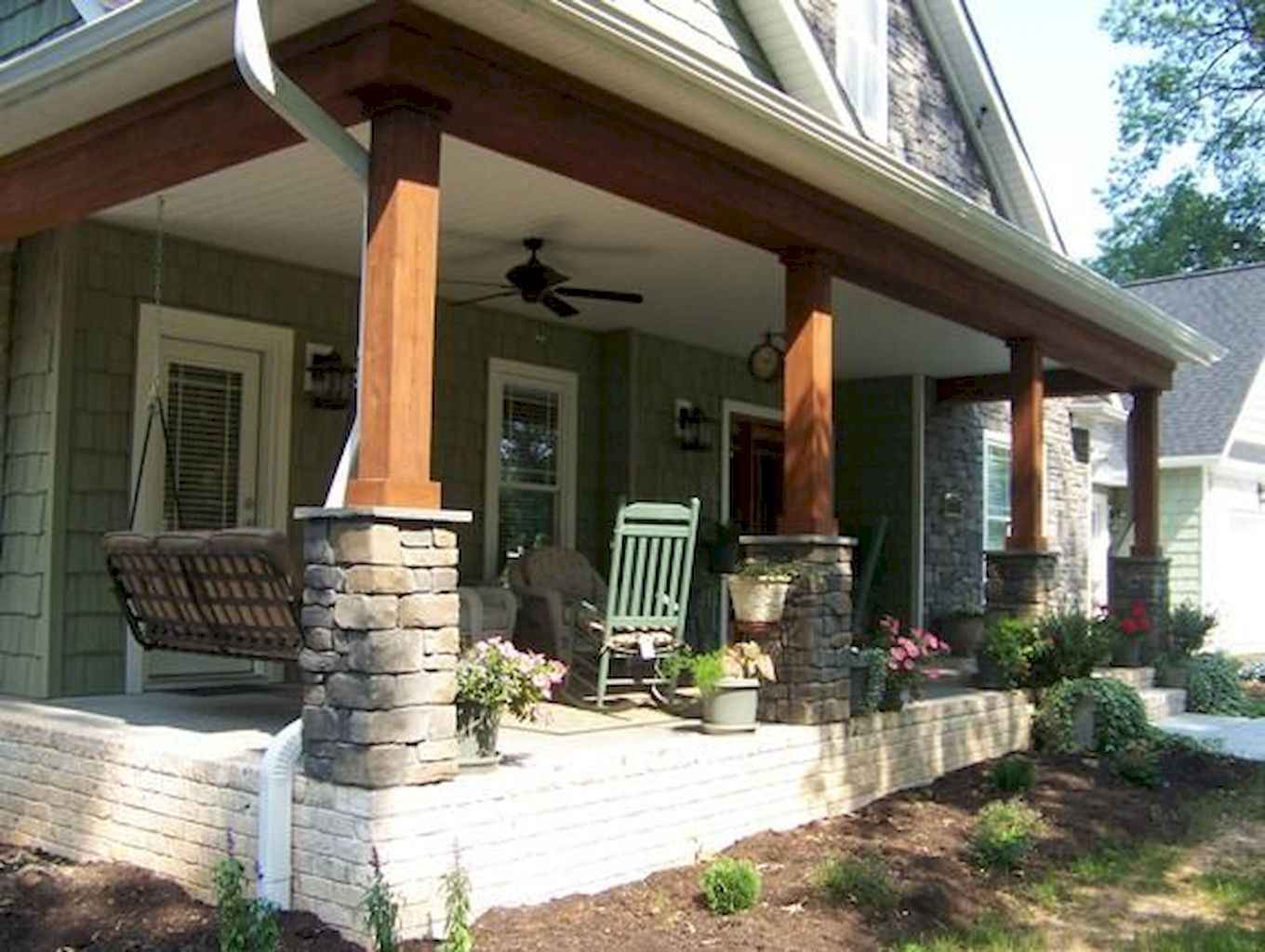 85 beautiful wooden and stone front porch ideas decoradeas